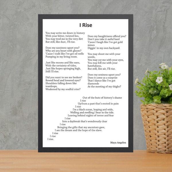 Printed Poem - I Rise