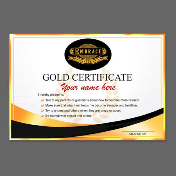 Printed Gold Certificate