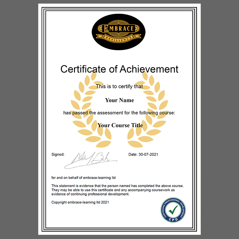 Image of Embrace Resilience Certificate of Achievement